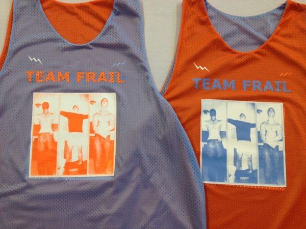 team frail pinnies - blue and orange pinnies