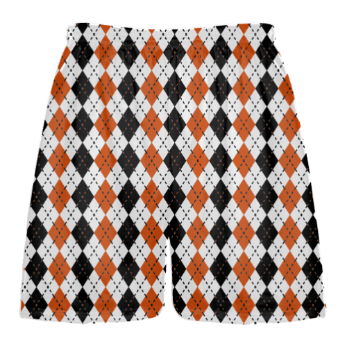 orange black argyle lacrosse shorts