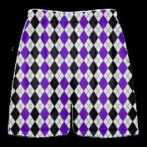 purple black argyle lacrosse shorts