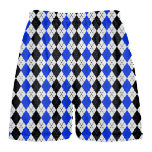 royal blue black argyle lacrosse shorts