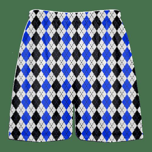 royal blue black argyle lacrosse shorts
