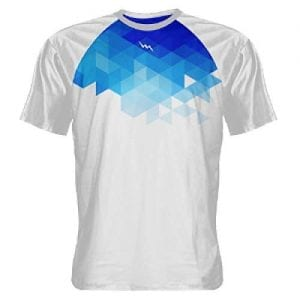 Abstract White Blue Shooting Shirts - Sublimated Crew Neck Shirts