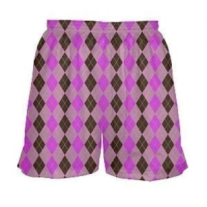 Pink Argyle Lacrosse Shorts for Girls