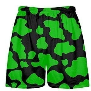 Black Green Cow Shorts