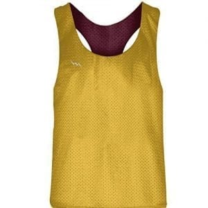Blank Womens Pinnies - Athletic Gold Maroon Racerback Pinnies