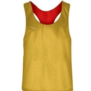 Blank Womens Pinnies -Athletic Gold Red Racerback Pinnies