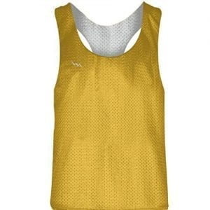 Blank Womens Pinnies - Athletic Gold White Racerback Pinnies