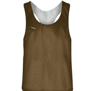 Blank Womens Pinnies - Brown White Racerback Pinnies for Girls