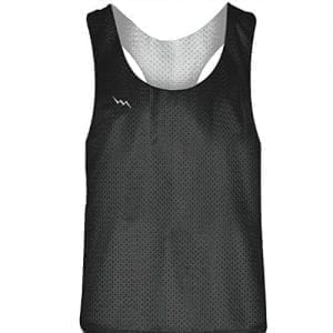 Blank Womens Pinnies - Charcoal Grey White Racerback Pinnies for Girls