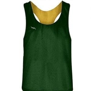 Blank Womens Pinnies - Dark Green Gold Racerback Pinnies for Girls