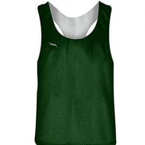 Blank Womens Pinnies - Dark Green White Racerback Pinnies for Girls