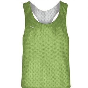 Blank Womens Pinnies - Lime Green White Racerback Pinnies
