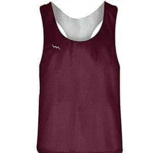 Blank Womens Pinnies - Maroon White Racerback Pinnies for Girls