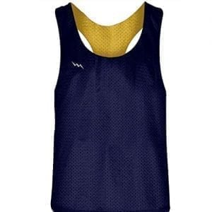 Blank Womens Pinnies - Navy Blue Gold Racerback Pinnies for Girls