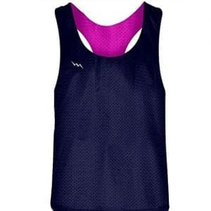 Blank Womens Pinnies - Navy Blue Hot Pink Racerback Pinnies for Girls