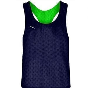 Blank Womens Pinnies - Navy Blue Neon Green Racerback Pinnies for Girls