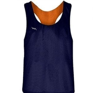 Blank Womens Pinnies - Navy Blue Orange Racerback Pinnies for Girls