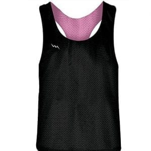 Blank Womens Pinnies -Pink Black Racerback Pinnies