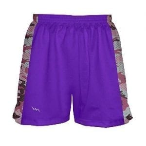 Girls Lacrosse Shorts Purple With Pink Camouflage Sides