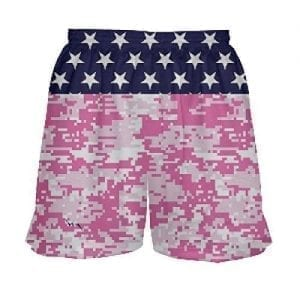 Girls Lacrosse Shorts Stars and Pink Camo