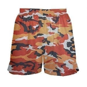 Girls Orange Camouflage Lacrosse Shorts