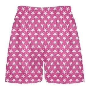 Hot Pink White Stars Shorts - Sublimated Shorts