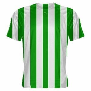Kelly Green and White Striped Soccer Jersey