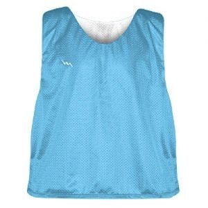 light blue and white soccer pinnies
