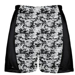 Silver Black Digital Camouflage Lacrosse Shorts