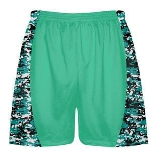 Teal Digital Camouflage Lacrosse Shorts