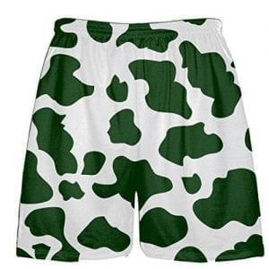 White Dark Green Cow Pattern Shorts