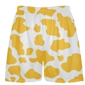 White Gold Cow Pattern Shorts