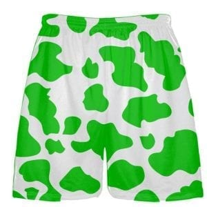 White Kelly Green Cow Print Shorts