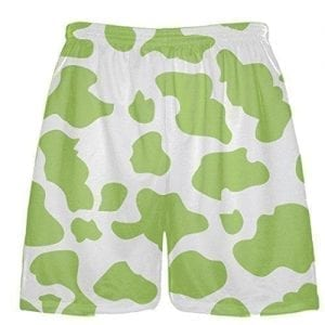 White Lime Green Cow Shorts