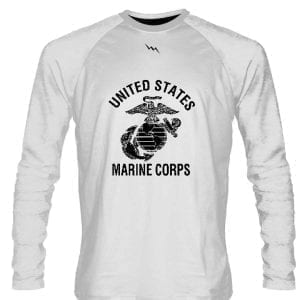 White Marine Corps Long Sleeve Shirts Black Logo