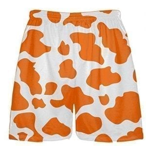 White Orange Cow Pattern Shorts