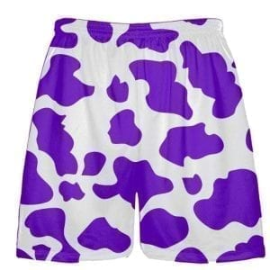 White Purple Cow Pattern Shorts