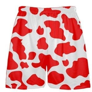 White Red Cow Print Shorts