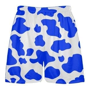White Royal Blue Cow Print Shorts