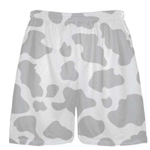 White Silver Cow Print Shorts