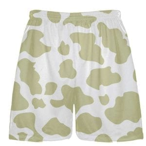 White Vegas Gold Cow Print Shorts