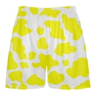 White Yellow Cow Print Shorts