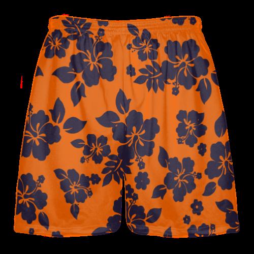 Navy Blue Orange Hawaiian Shorts Accent
