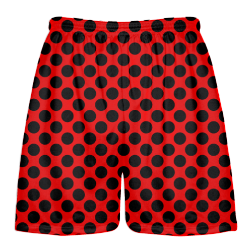 Mens Lacrosse Short Youth Red Youth Red Forest Green Polka Dot Shorts Boys Lacrosse Shorts
