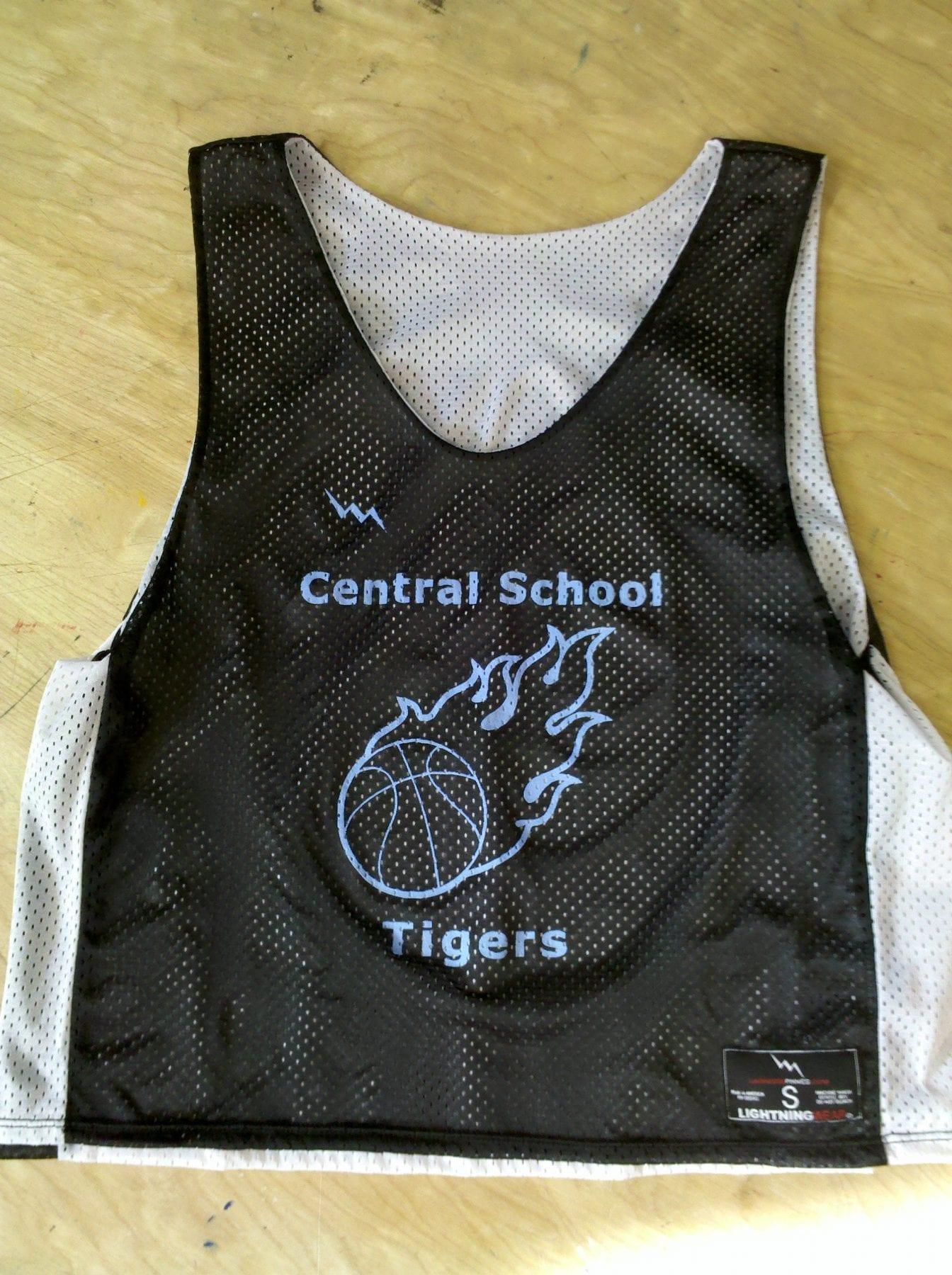 central school basketball pinnies