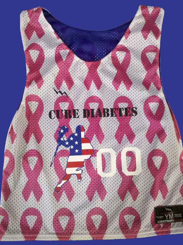 cure diabetes lacrosse pinnies